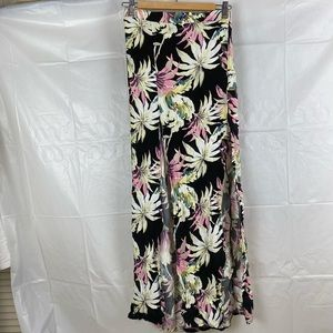 Women's All About Eve. Black Floral Multicolored Boho Midi Skirt Size 8
